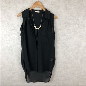 Lush Sheer Black Button Down Tunic Blouse